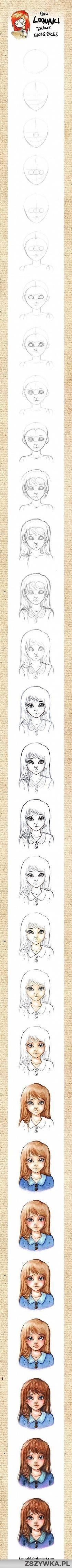 jak narysować twarz dziewczyny