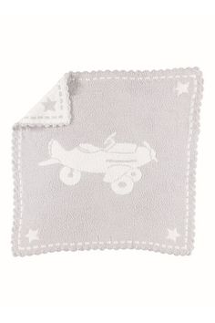 Barefoot Dreams Scalloped Airplane Blue Baby Receiving Blanket