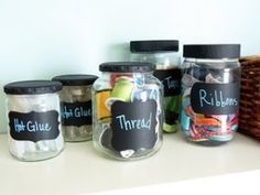 DIY Wood Crafts : DIY furniture projects Ideas to reuse wooden things at home Chalk Labels, Jar Labels, Chalkboard Labels, Craft Organization, Craft Storage, Organizing Ideas, Jar Storage, Storage Ideas, Mason Jar Crafts
