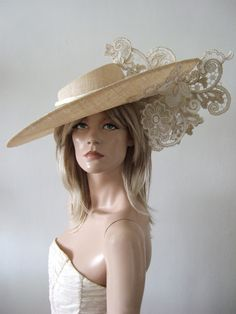 Large Tilted Nude Natural Hat with Gold White Lace from Dress-2-Impress Hat Hire. Ascot Hat Hire