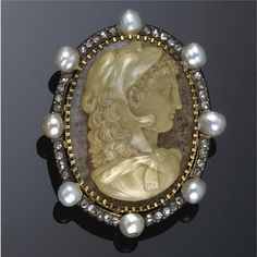 Gold, agate, natural pearl and diamond cameo brooch, 1860s
