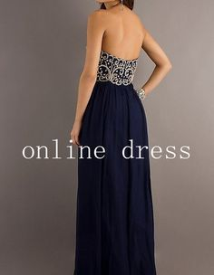 Navy Floor Length Chiffon Prom Dress   Bridesmaid by onlineDress, $189.00