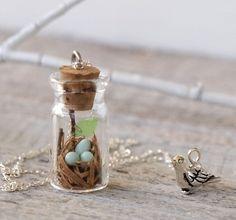 Tiny Woodland Terrarium Robin's Nest Necklace. $54.50, via Etsy.