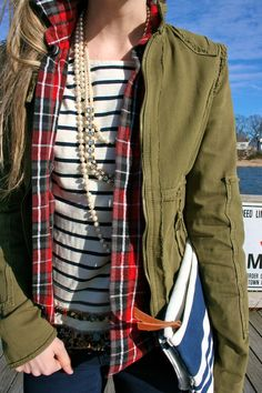 pattern mixing for chilly days: stripes, plaid, solid olive green minus fancy pearls.