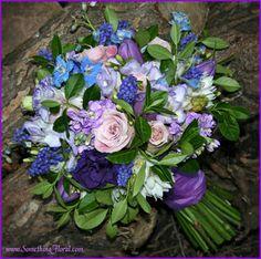 Purple, lavender, pink, mauve, and blue-love the subtle blue