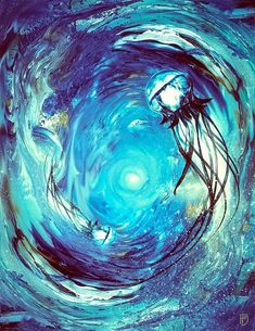 jellyfish painting, surreal jellyfish, abstract painting, surreal ocean, abstract ocean, abstract jellyfish, whirlpool, space ocean, avant garde, strange art, bizarre art, psychedelic jellyfish, hippie jellyfish, galaxy canvas painting, jellyfish canvas