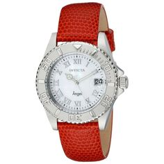 Invicta Angel Analog Display Swiss Quartz Orange Watch (29 KWD) ❤ liked on Polyvore featuring jewelry, watches, leather strap watches, invicta, analog wrist watch, stainless steel jewellery and roman numeral jewelry