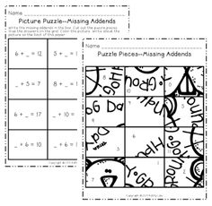 Groundhog's Day Picture Puzzle--Missing Addends