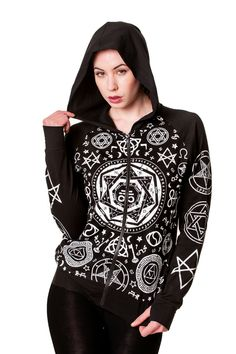Banned Pentagram Black Hoody.  Awesome Pentagram print hoody by Banned... Lightweight Hoody. White print on the front and sleeves. Front zip fastening. Cotton Spandex mix. Side pockets and thumb holes.  You gotta love this hoody from Banned. One for all you witches out there!!!