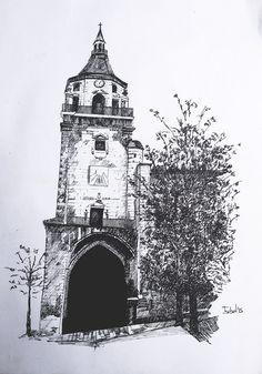 Catedral de Santa María de Vitoria-Gasteiz.   Dibujo hecho a estilógrafo.
