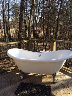 Bathtub on the sun deck in the woods