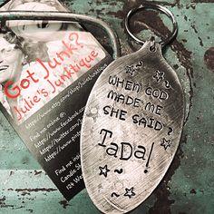 Custom order- stamped silver spoon pendant keychain- Julie's Junktique (Etsy.com)
