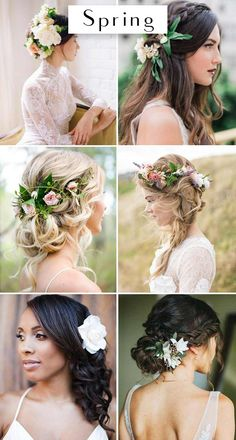The Best Wedding Hairstyles For Each Season - Wilkie: Hairstyles like a low bun or tuck are perfect for spring weddings! Make sure to include florals that are blooming throughout the springtime in your hair as well!
