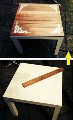 Einem einfachen #Lack #Tisch von #Ikea etwas mehr Glanz verleihen geht ganz einfach. My first Ikea hack :) a simple LACK coffee table upgraded. Inspiration taken from:  http://www.ikeahackers.net/2013/04/from-a-lack-table-to-a-sweet-little-stenciled-one.html