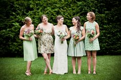 Love the mix of solids and prints | Cape Cod Lavender Farm Wedding in Harwich from Katie Hall Photography  Read more - http://www.stylemepretty.com/massachusetts-weddings/2013/10/10/cape-cod-lavender-farm-wedding-in-harwich-from-katie-hall-photography/