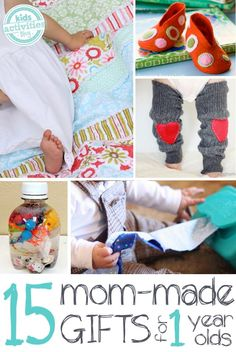 15 homemade gifts you can make for one year old babies.  Great ideas for older kids to make for their younger sibling too!