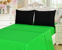 Tache 3 Piece Lime Green/ Black Bed sheet Set, Single/Twin