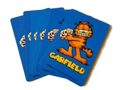 New to ThriftyTheresa on Etsy: Garfield Playing Cards 1978 Full Deck Large Print Garfield the Cat Orange Tabby Cartoon Comic (12.00 USD)