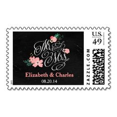 Mr and Mrs Chalkboard Wedding Postage Stamp