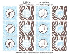 Safari Baby Shower Cupcake Toppers Boys by LillianHopeDesigns
