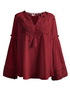 Plus Size V Neck Crochet Lace Spliced Blouse