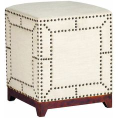 Zara Modern Regency Linen Nail head Ottoman Footstool (€385) ❤ liked on Polyvore