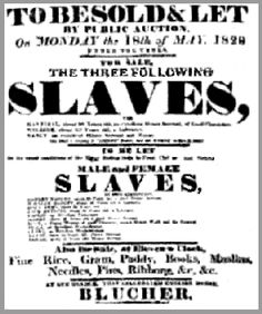Poster stating an auction of slaves being sold at expensive prices