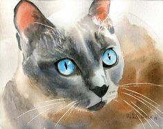 Tonkinese Tonk Siamese cat Art Print of a watercolor Painting Big Large Huge Girls Cat Lover Gift Blue Mink Point Applehead Traditional