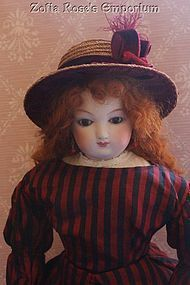 French Fashion ~ Tall Crown Vintage Straw Hat ~ Artist Made - Zofia Rose's Emporium #dollshopsunited