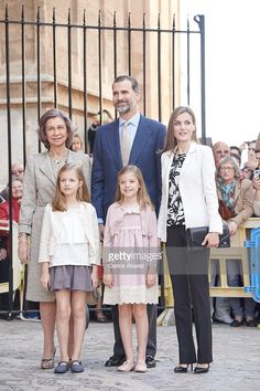 Spanish Royals (L-R) Queen Sofia, King Felipe VI of Spain, Queen Letizia of Spain, Princess Sofia of Spain and Princess Leonor of Spain attend the Easter Mass at the Cathedral of Palma de Mallorca on April 5, 2015 in Palma de Mallorca, Spain.  (Photo by Carlos Alvarez/Getty Images)