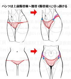 tutorial, how to draw, waist / 股間周りの描き方:違和感と修正法① - pixiv Anatomy Sketches, Anatomy Drawing, Anatomy Art, Manga Drawing, Drawing Practice, Drawing Poses, Figure Drawing, Anatomy Reference, Drawing Reference