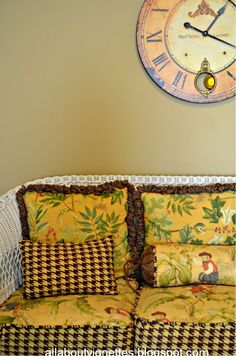 How I mixed and matched fabrics on an antique wicker sofa and chairs set.