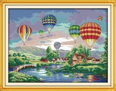 Colorful balloons DIY Handmade Needlework Cross Stitch Set Kits For Embroidery Home Decor Landscape Cross Stitch Patterns //Price: $22.08 & FREE Shipping //     #crafts #sewing