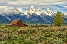 © Jeff R. Clow.     Mormon homesteader John Moulton's barn in Jackson Hole, Wyoming. One of the most photographed barns in the world.