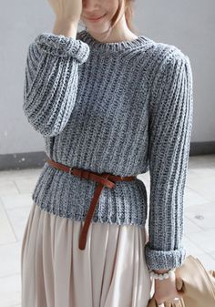 Ribbed Grey Pullover Sweater - Top