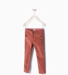 Pantalon velours à fermeture Éclair-Tout affiche-Pantalons-Filles | 4-14ans-ENFANTS | ZARA Suisse