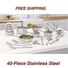 Stainless Steel 40-Piece Essential Kitchen Cookware Set Pots & Pans #doesnotapply