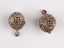 Button; silver; hoop; hemispherical body; with pierced ornament in circles; with…