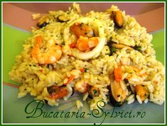 Orez cu fructe de mare Calamari, Fried Rice, Grains, Paste, Meat, Ethnic Recipes, Food, Essen, Meals