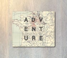 Adventure Vintage Map Mouse Pad - Explore Typography Computer or Office Work Station Decor