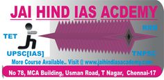 JAI HIND IAS ACADEMY having lot of courses.. We are Offering Lowest Fees and Best Quality to Teach All Courses.. We are having More than 500+ Successful Students, and Chennai's Best IAS Academy...