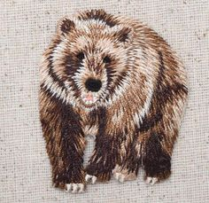 Iron-On Applique Embroidered Patch Wild Animal Natural Brown Grizzly Bear