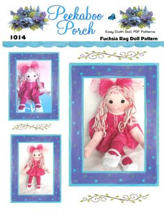 Fuchsia loves bright colors and bling. This trendy, cuddly 14 inch ragdoll is ready to go everywhere with your favorite trendy little girl. This unique doll is permanently dressed so little ones can't lose her clothes but she does have a removeable skirt just for fun. Pattern includes doll with removeable skirt, shoes, and hairbow. With variegated glitter yarn hair and a glitter print dress, her sparkly hairbow makes her smile and so will you!  Full size pattern pieces, just print, cut and…