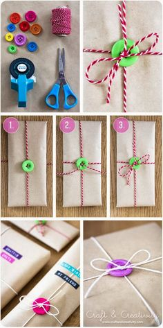 Gift wrapping with buttons. LOVE, LOVE, LOVE!