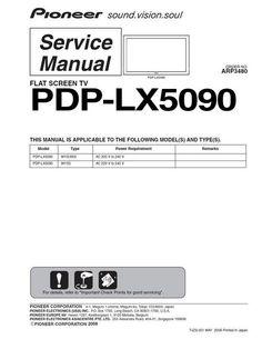 Pioneer PDP-LX 5090 , ARP-3480 , Kuro Service Manual 100 per cent satisfaction guaranteed   DOWNLOAD