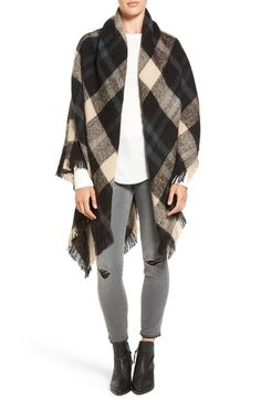 Treasure&Bond Plaid Blanket Wrap available at #Nordstrom -- in the Burgundy Combo