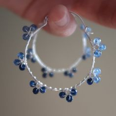 Blue sapphire hoop earringsnatural gradual blue gemstone hoop | Etsy Gold Bridal Earrings, Sapphire Earrings, Crystal Earrings, Beaded Earrings, Hoop Earrings, Sapphire Jewelry, Wedding Earrings, Handmade Wire Jewelry, Earrings Handmade