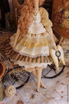 Купить Аурелия интерьерная декоративная текстильная кукла Тильда ангел - жёлтый, зелёный, тильды, тильда