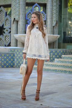 "justthedesign: "" Helena Cave Ramos is wearing a crochet and lace top from A Bad Day, denim shorts from Mango and wedges and handbag from Stradivarius "" Style Casual, Casual Looks, All About Fashion, Passion For Fashion, Boho Fashion, Womens Fashion, Fashion Trends, Fashion Bloggers, Latest Fashion"