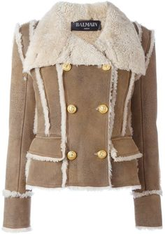 Double breasted shearling coat by Balmain on ShopStyle.